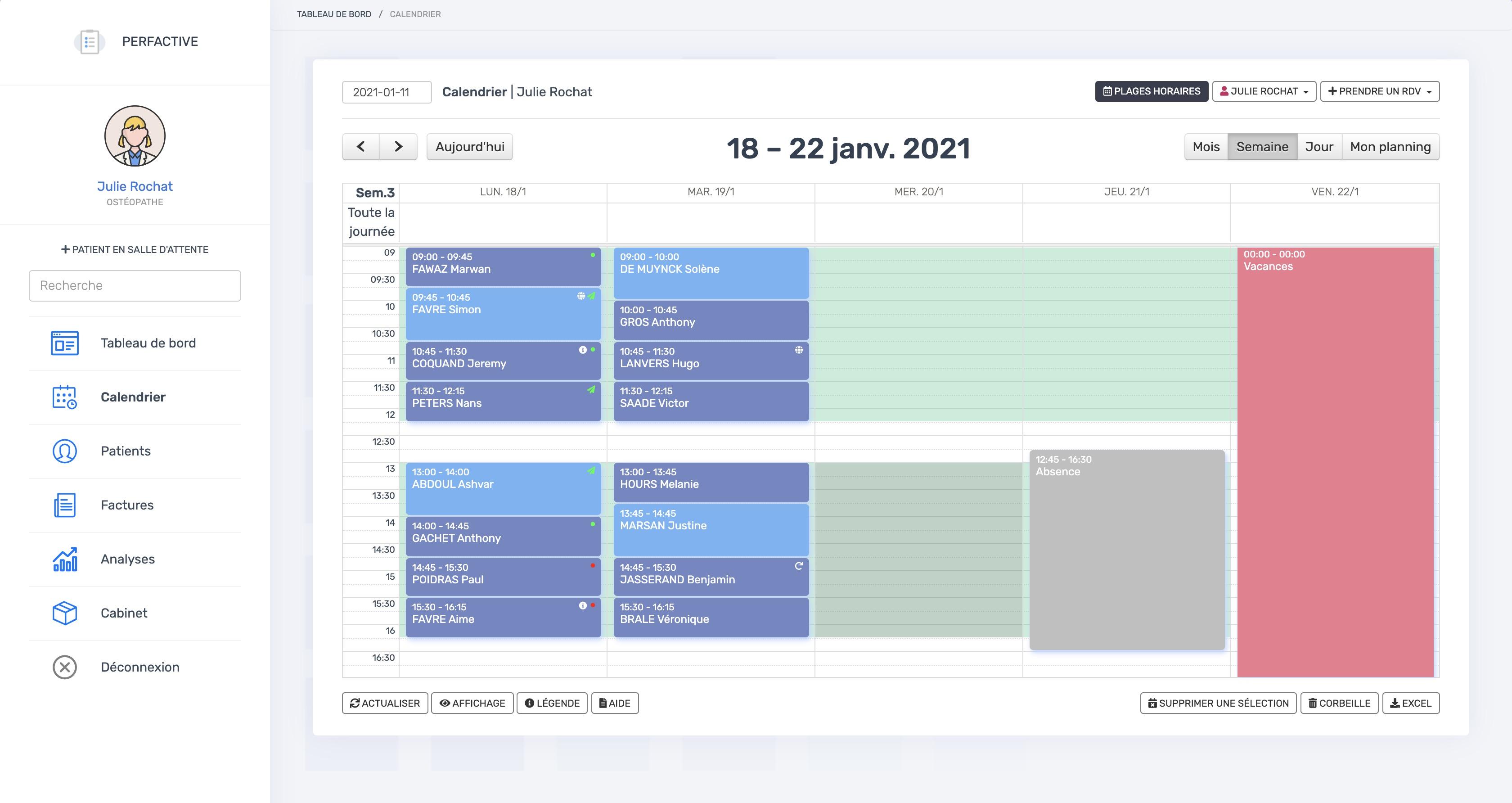 Le calendrier | PERFACTIVE