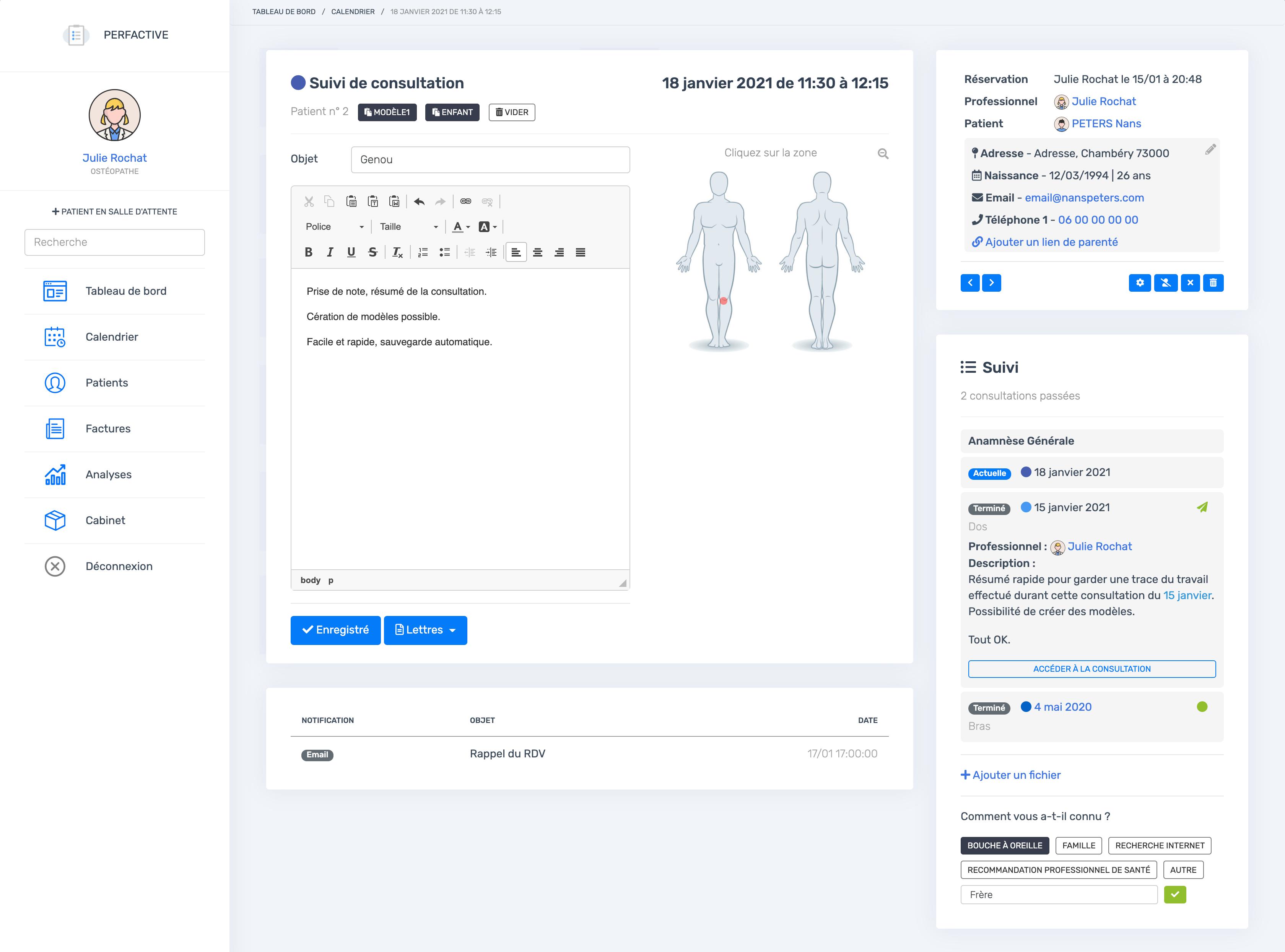 La page de consultation | PERFACTIVE